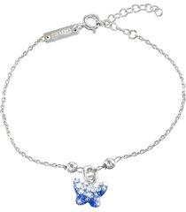 bracciale farfalla in argento 925 rodiato e cristalli per bimbi