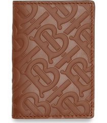 burberry monogram leather bifold card case - brown