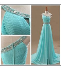 a-line one shoulder beads ruffles blue chiffon long prom dresses