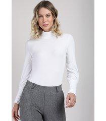 blusa feminina canelada manga longa gola alta branca