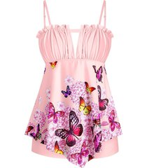 plus size butterfly print frilled trim padded tankini swimwear