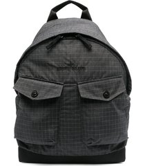 stone island checked double-patch pocket backpack - black