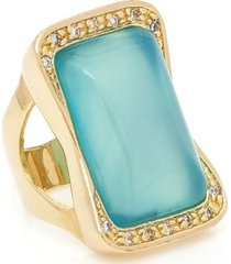 anel banhado a ouro pedra bonamita e zirconias
