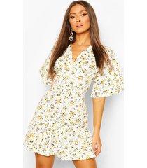 bloemenprint mini jurk met geplooide zoom, white