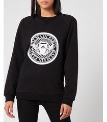 balmain women's flocked coin sweatshirt - black - xl