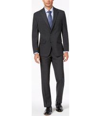 club room men's classic-fit stretch charcoal windowpane check suit, created for macy's