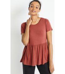 maurices womens 24/7 solid babydoll tee red