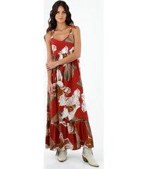 vestido de mujer, cuello en v de tiras para anudar, con estampado floral