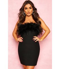 bandeau feather mini bodycon dress, black