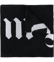 palm angels reversible logo skull scarf - black