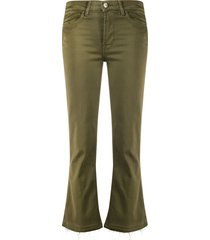 7 for all mankind cropped slight flared trousers - green