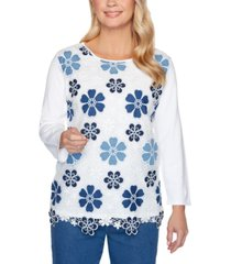 alfred dunner petite pearls of wisdom 2019 floral-lace sweater
