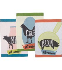 kit panos de prato teka fiori kitchen 3 peã§as - multicolorido - dafiti