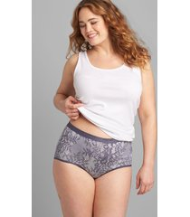 lane bryant women's cotton full brief panty 34/36 grisaille