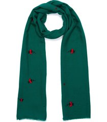 'ladybug' embroidered merino wool scarf