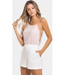 blusa assimétrica strappy tecido rosa apricot - lez a lez