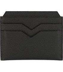 valextra v-detail grained leather cardholder - smokey london grey