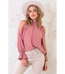 cold shoulder blouse dust roze