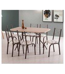 conjunto de mesa de jantar com 6 cadeiras itália corino carvalho e bege