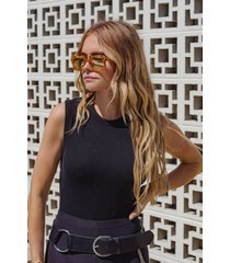 womens california soul high-leg bodysuit - black