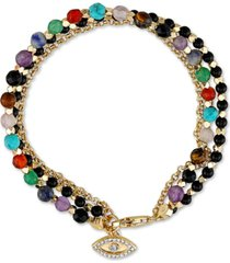 unwritten triple strand multi-bead link evil-eye charm in gold-tone silver plated
