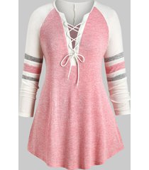 plus size lace up heathered striped longline tee