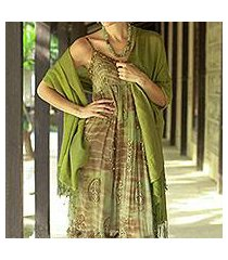 silk and wool shawl, 'persian forest' (india)