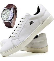 sapatênis sapato casual com relógio zaru t10mr branco