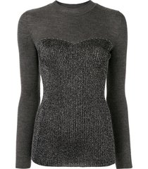 alberta ferretti lurex panel jumper - grey