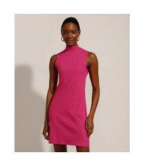 vestido canelado curto básico gola alta pink