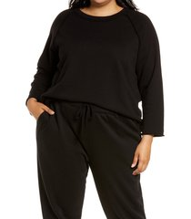 plus size women's eileen fisher boxy raglan sweatshirt, size 1x - black