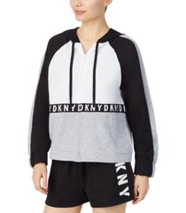dkny colorblocked french terry lounge hoodie
