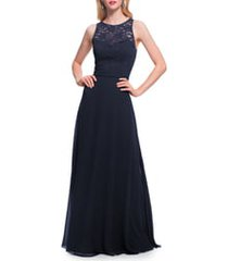 women's #levkoff lace bodice chiffon a-line gown
