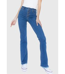 jeans flare tiro alto botones virginia azul racaventura