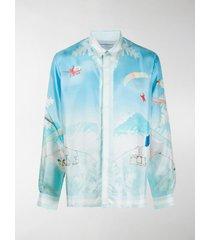 casablanca ski print silk shirt