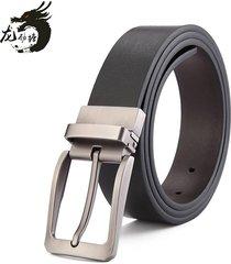 cinturón de hombres, cuero de los hombres ocasionales-negro