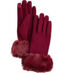 women's faux fur cuff jersey touchscreen glove