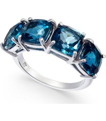 blue topaz (7-3/8 c.t. t.w.) four-stone ring in sterling silver