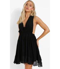 geplooide mini jurk met laag decolleté, black