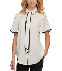 dkny tie-neck flutter-sleeve blouse