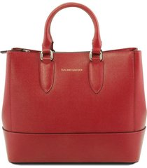 tuscany leather tl141638 tl bag - borsa a mano in pelle saffiano rosso
