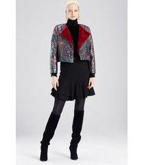 bohemia garden jacquard cropped jacket, women's, black, cotton, size l, josie natori