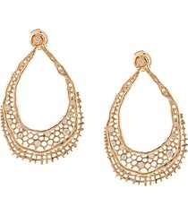 aurelie bidermann 18kt yellow gold & diamond lace earrings - metallic