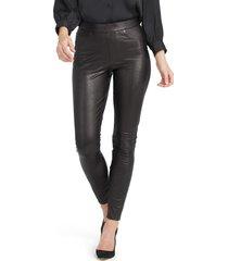 women's spanx faux leather-like ankle skinny pants, size medium long - black
