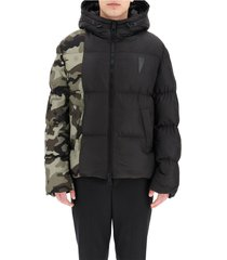puffer jacket with camouflage motif