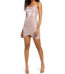 women's speechless shimmer envelope hem dress, size 3 - pink