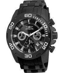 reloj invicta 22338 negro silicona, acero inoxidable