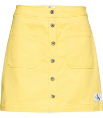 cotton butt d mini kort kjol gul calvin klein jeans
