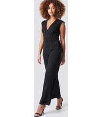 na-kd party overlap wide leg jumpsuit - black