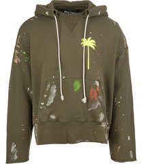 palm angels military green painted palm tree hoodie